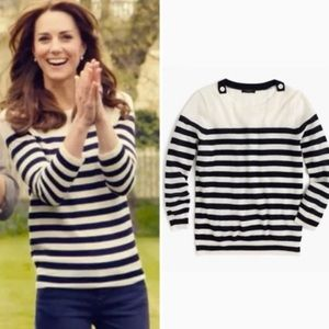 J. CREW Tippi striped sweater shoulder buttons S